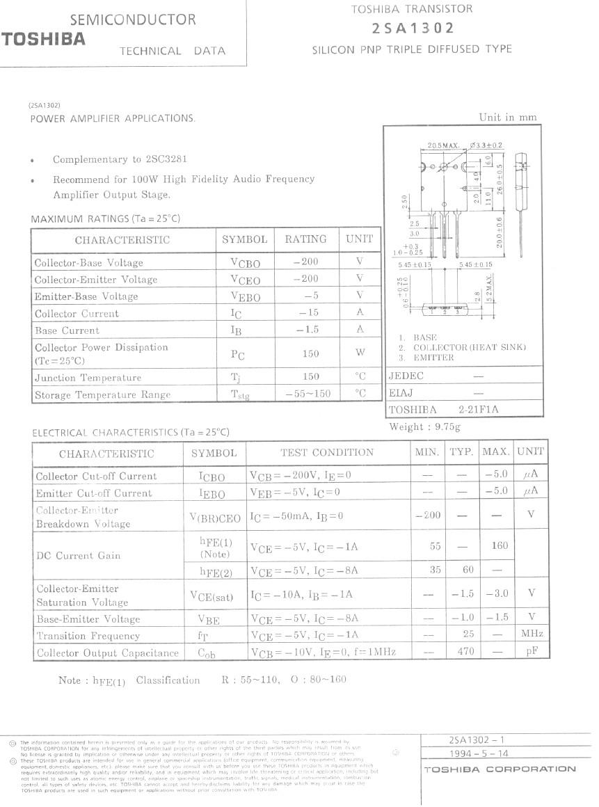 Tranzisztor PNP 200V 15A 150W 30MHz HI-FI 2SA1302-TOS 2SA1302-TOS -