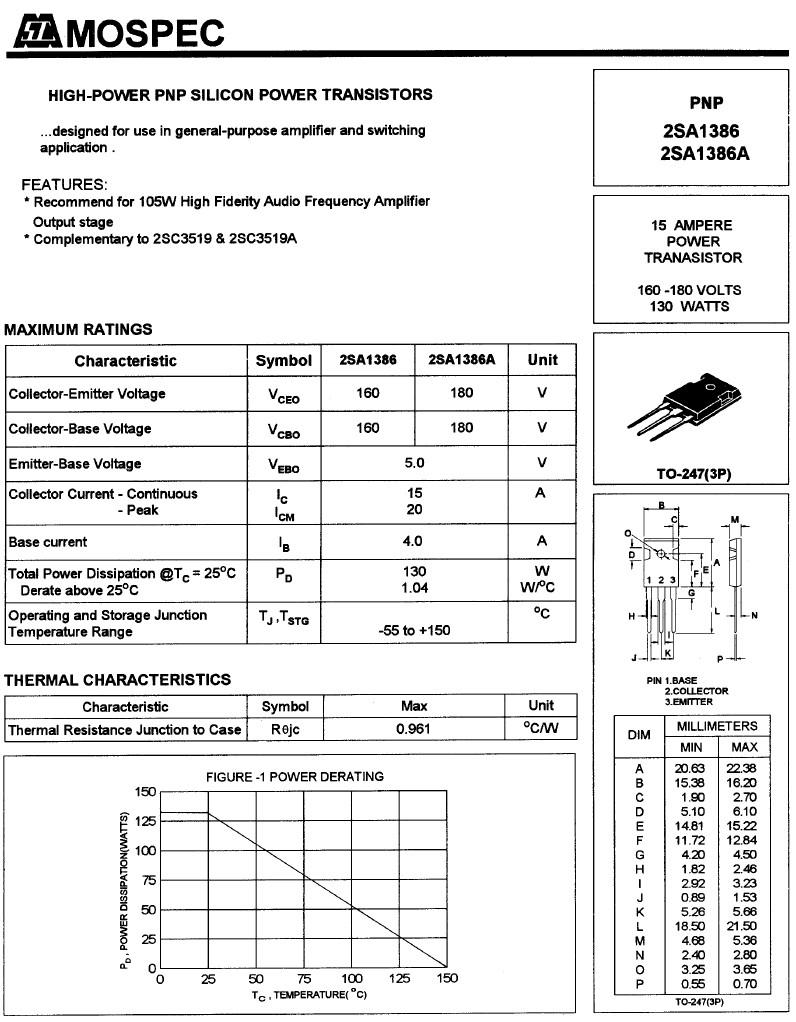 Tranzisztor PNP 160V 15A 130W 40MHz NF/SL 2SA1386 2SA1386 -