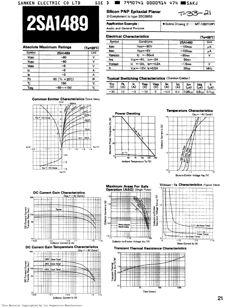 Tranzisztor PNP 80V 6A 60W 20MHz NF/SL 2SA1489 2SA1489