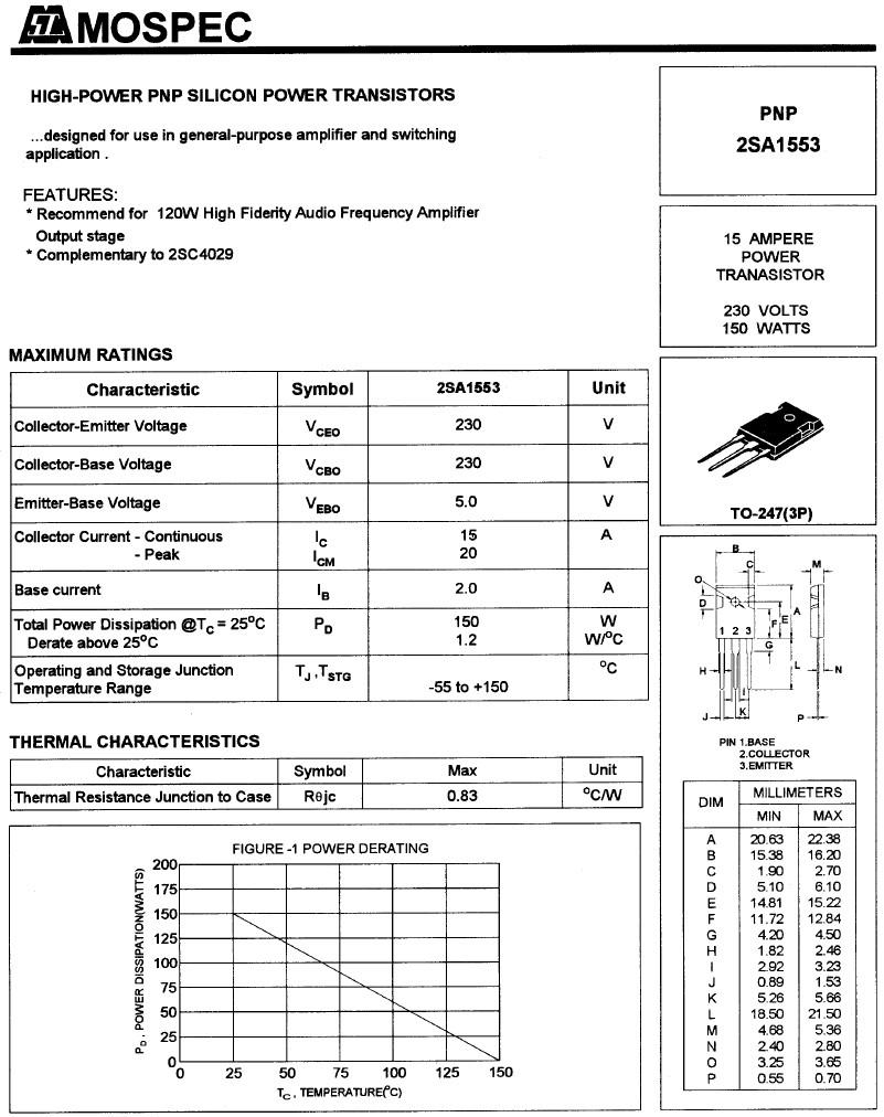 SI-P 230V 15A 150W 25MHz NF/E 2SA1553 -