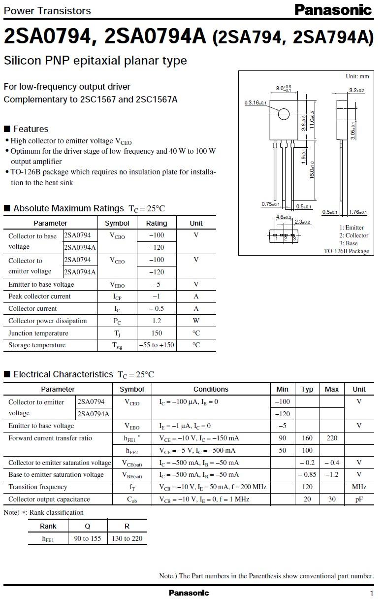 SI-P 120V 0.5A 5W 120MHz 2SA794A -