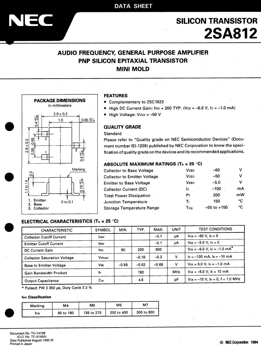 SI-P SMD 50V 0.1A 0.15W 180MHz 2SA812