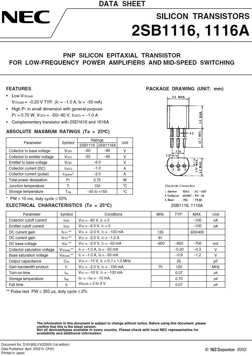 Tranzisztor PNP 60V 1A 0.75W 120MHz UNI 2SB1116 2SB1116 -
