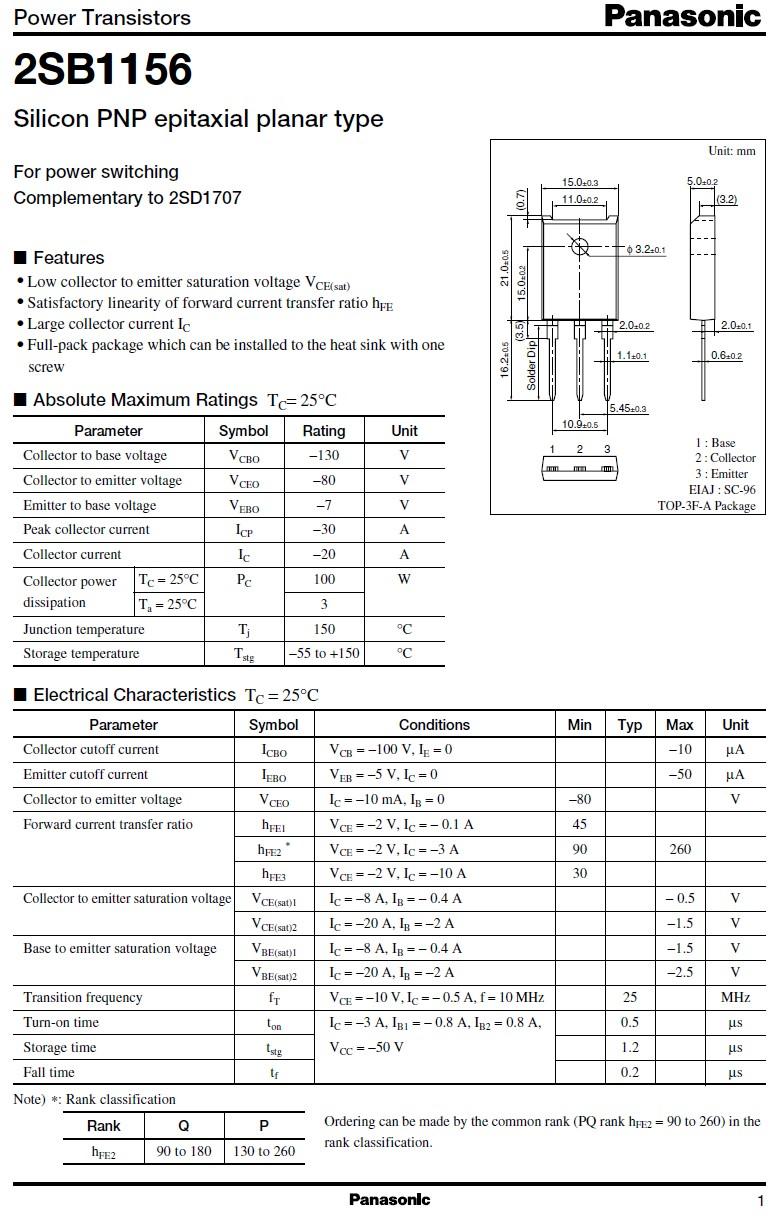 Tranzisztor PNP 130V 20A 100W 25MHz NF/SL 2SB1156 2SB1156 -