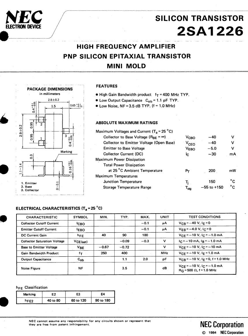Tranzisztor PNP Darlington+D 110V 3A 20W 20MHz 2SB1226 2SB1226