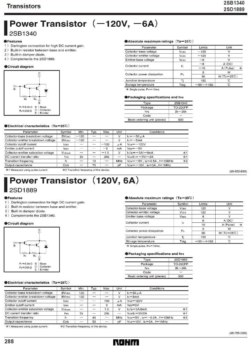 SI-P DARL+D 120V 6A 30W 12MHz 2SB1340