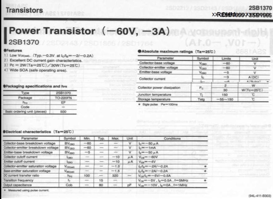 Tranzisztor PNP 60V 3A 30W 15MHz NF/SL 2SB1370 2SB1370