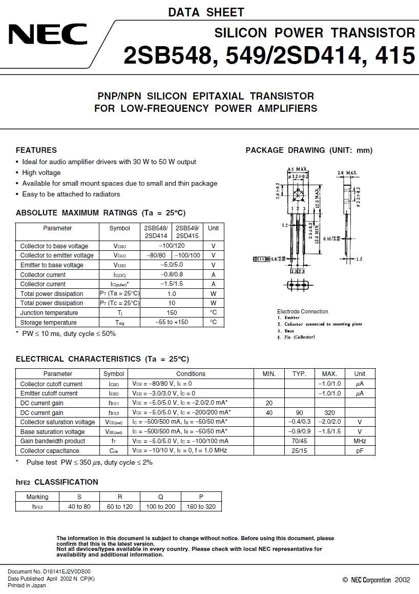 Tranzisztor PNP 120V 0.8A 10W 80MHz NF/L 2SB549 2SB549