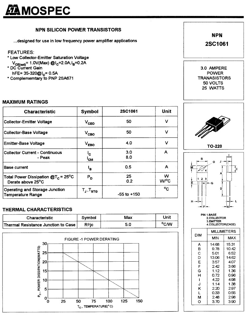 SI-N 50V 3A 25W 8MHz  NF/SL 2SC1061 -