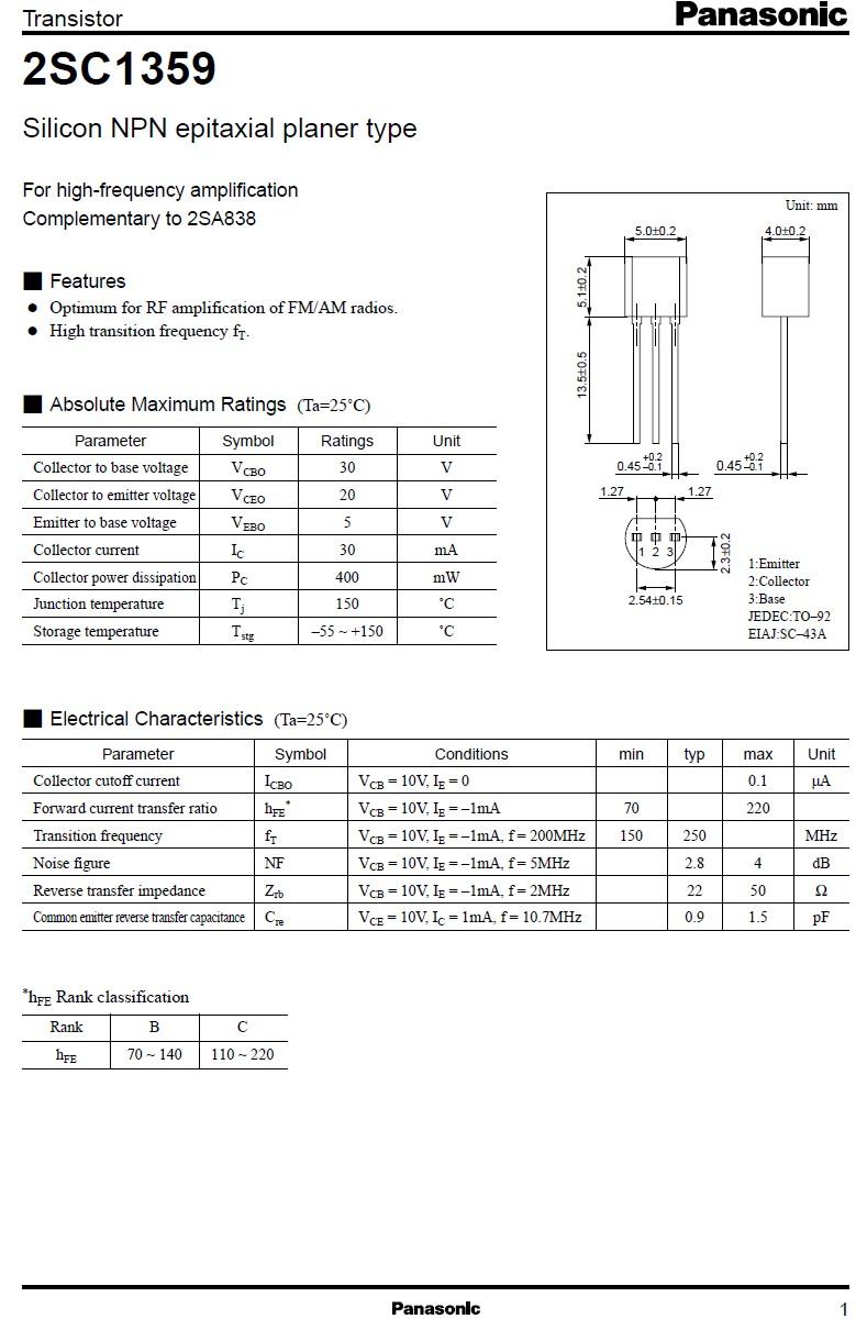 Tranzisztor NPN 30V 0.03A 0.4W 250MHz UNI 2SC1359 2SC1359 -
