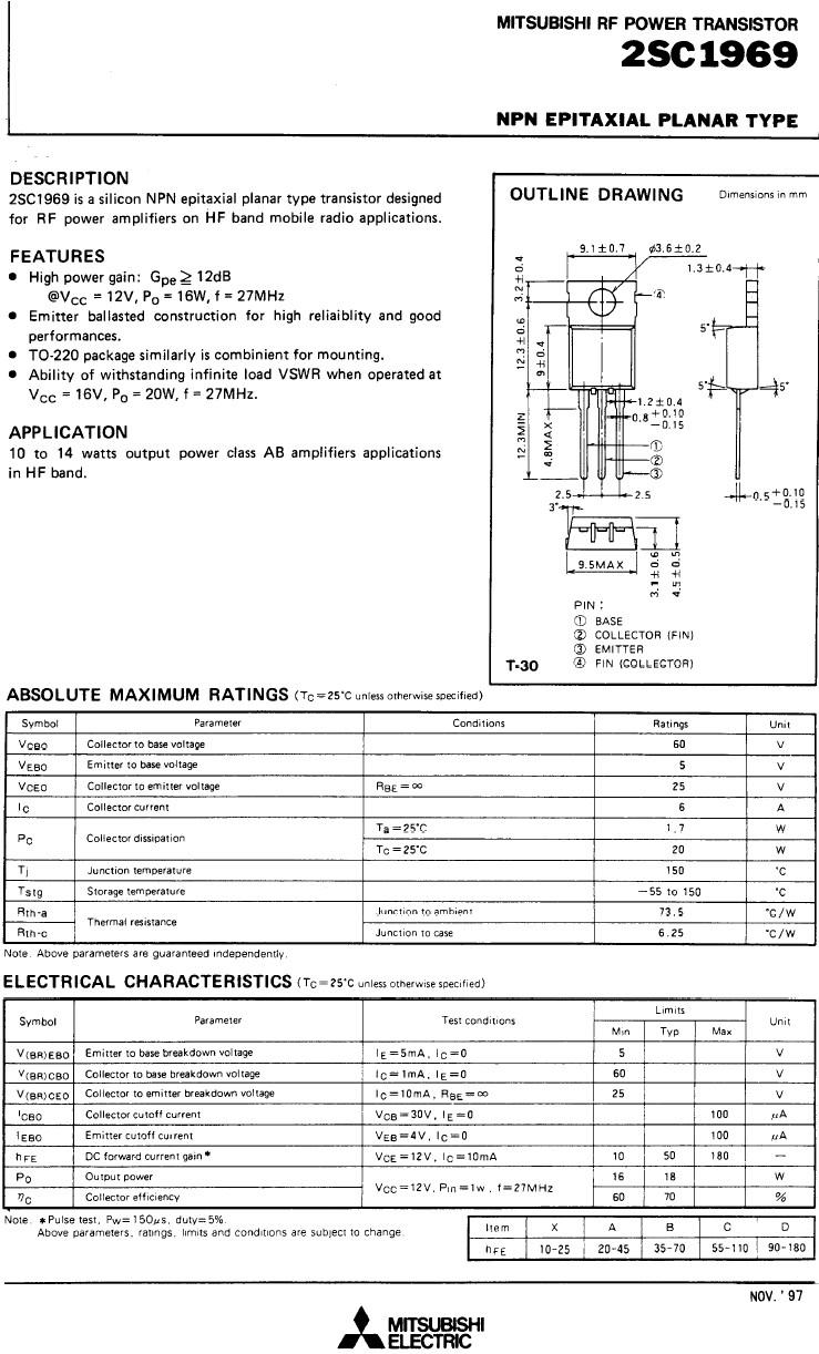 Tranzisztor NPN 60V 6A PQ=16W(27MHz) AM/L 2SC1969 2SC1969