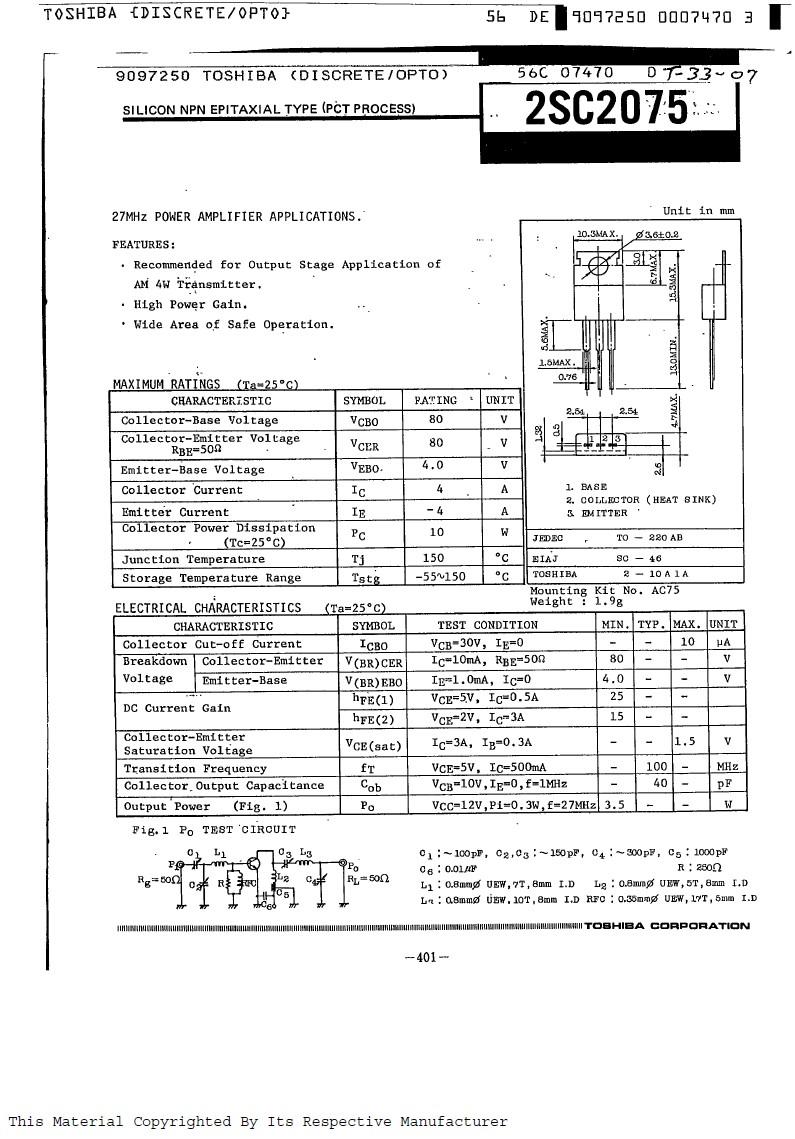 Tranzisztor NPN 80V 4A PQ>3.5W 27MHz AM-L 2SC2075 2SC2075 -