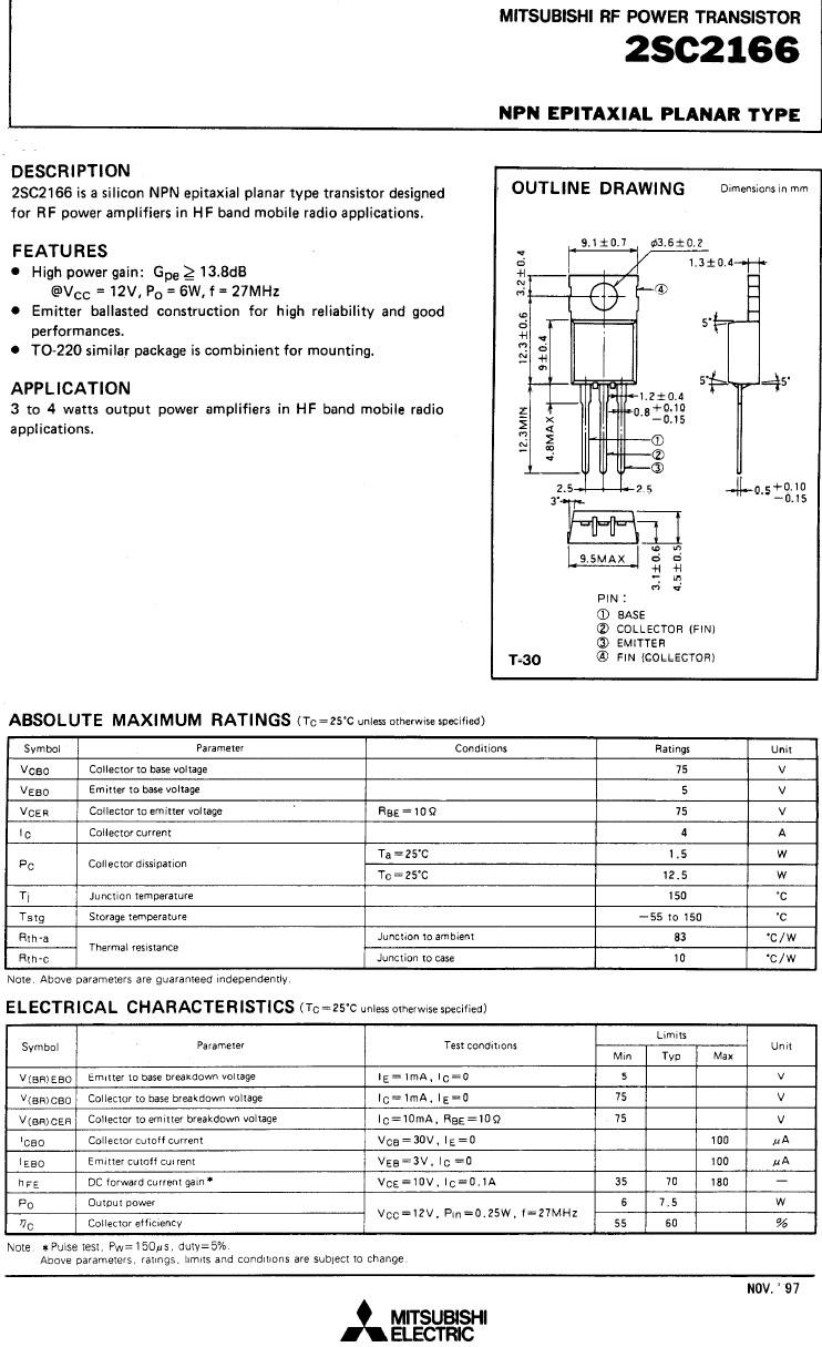 Tranzisztor NPN 75V 4A PQ>6W 27MHz HF-L 2SC2166 2SC2166