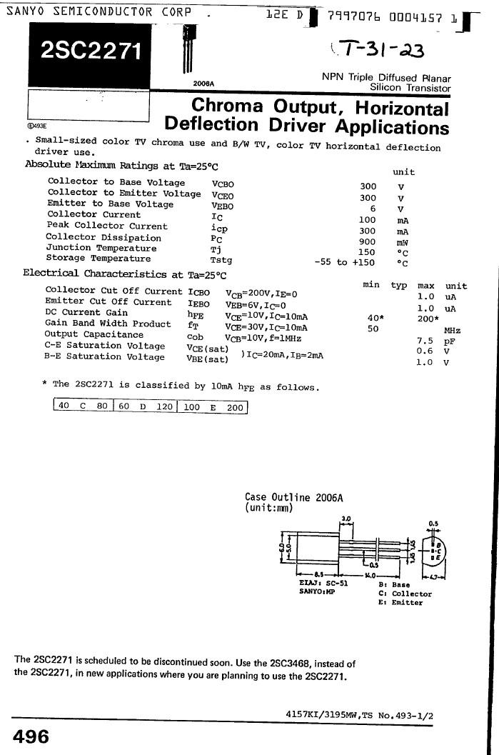 Tranzisztor NPN 300V 0.1A 0.9W >50MHz VID 2SC2271 2SC2271