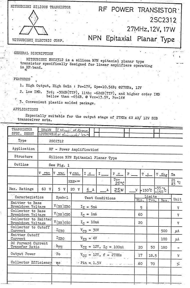 SI-N 60V 6A PQ=18.5W 27MHzHF-L 2SC2312