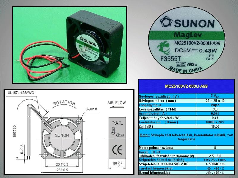 5V ventilátor 25x25x10 MC25100V2-A99 CY 2510/05V2A99 -