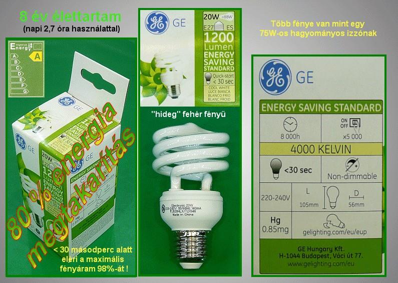 Kompakt fénycső Spirál FLE20/TBX/L/GG840 8Y LAMP E27/20W-840S
