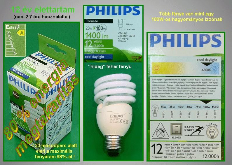 Kompakt fénycső Spirál PHI00522 23W865/E27 Turbó 12Y LAMP E27/23W-865S