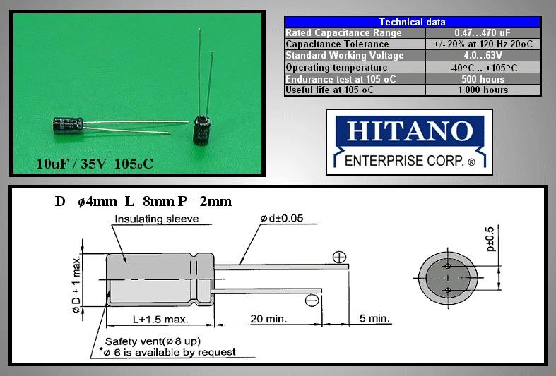 ELKO 10uF 35V 105°C 4x7 álló 10/35P 105 4X7 H -