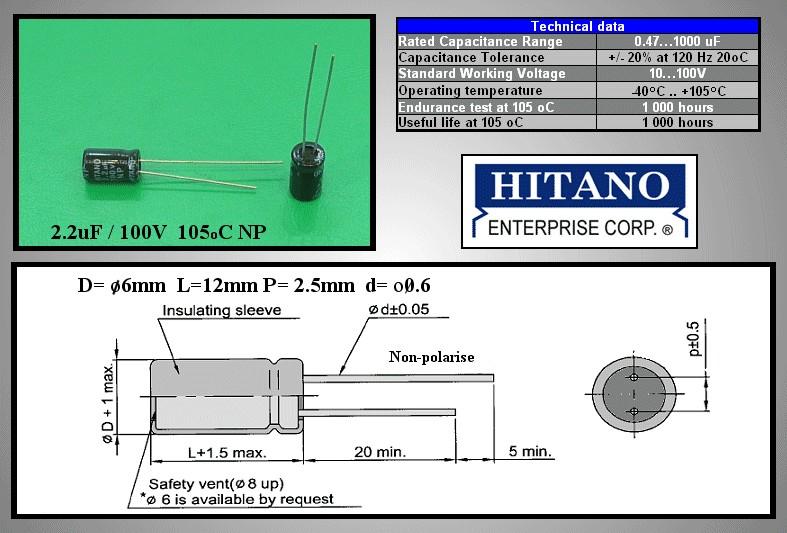 ELKO 2.2uF 100V 105°C BIPOLAR álló 2.2/100BP-105 H -