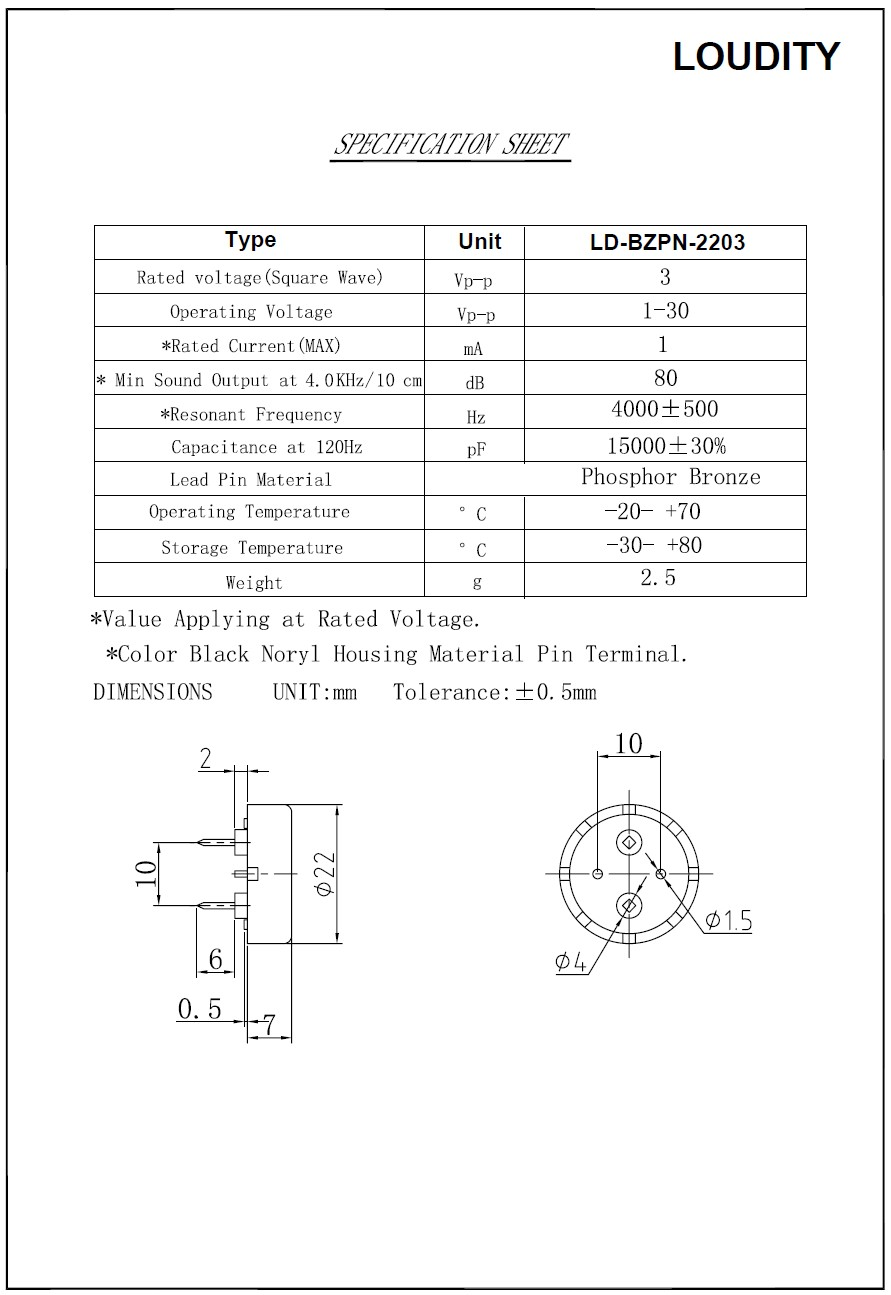 CERAMIC TRANSDUCER PCB LD-BZPN-2203 BZ-112