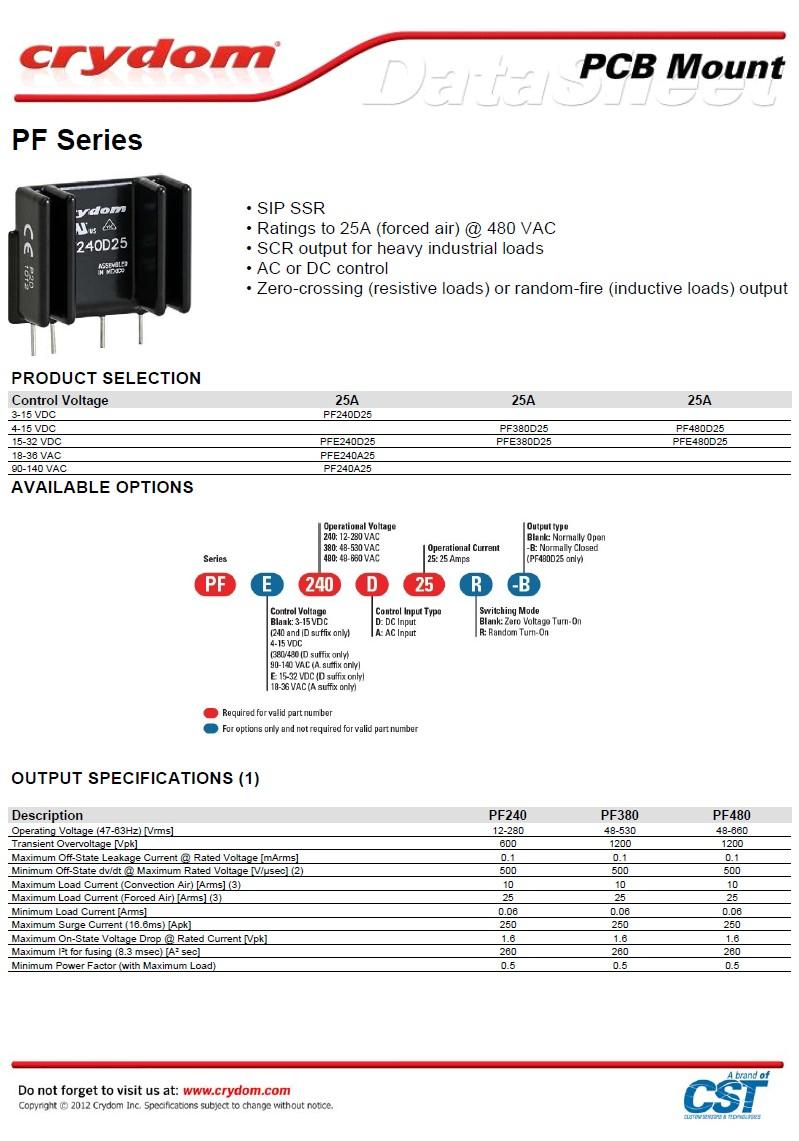 SSR 1x280V 25A 12VDC PF240D25 RELAY-PF240D25