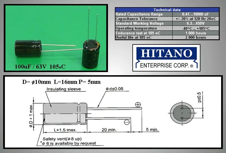 ELKO 100uF 63V 105°C 10x16 Low-ESR 100/63P-105ESR H -