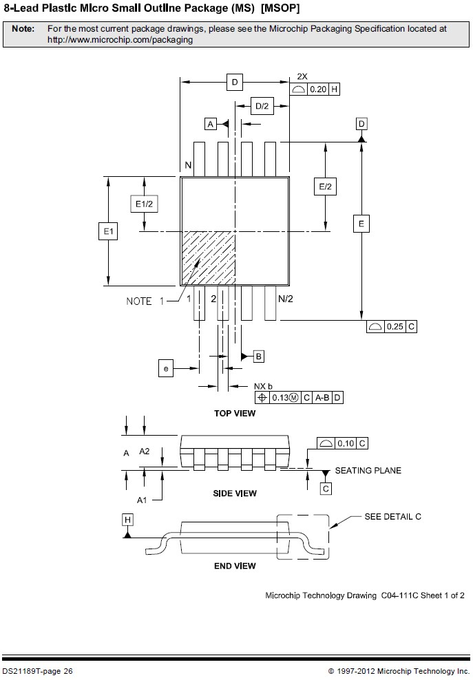 EEPROM 64K 8Kx8 bit I2C-bus 8p. SMD 24LC64-I/MS -