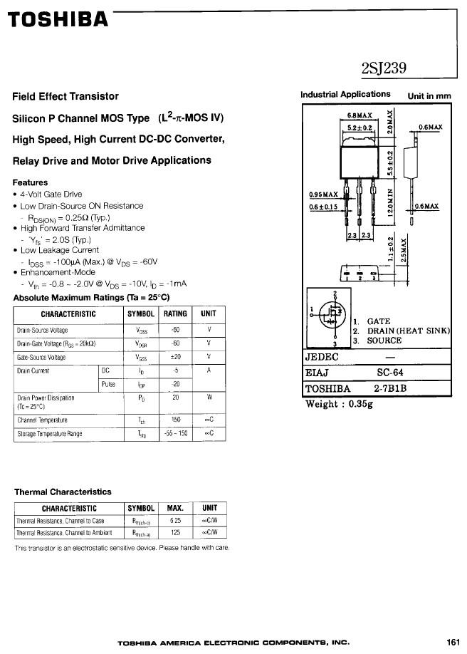 P-MOS SMD 60V 5A/20Ap. 20W 0.25R (2.5A) 2SJ239 -