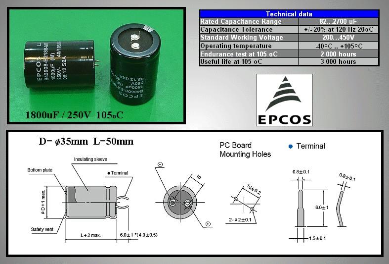 ELKO 1800uF 250V 105°C 35x50 1800/250P-105 -
