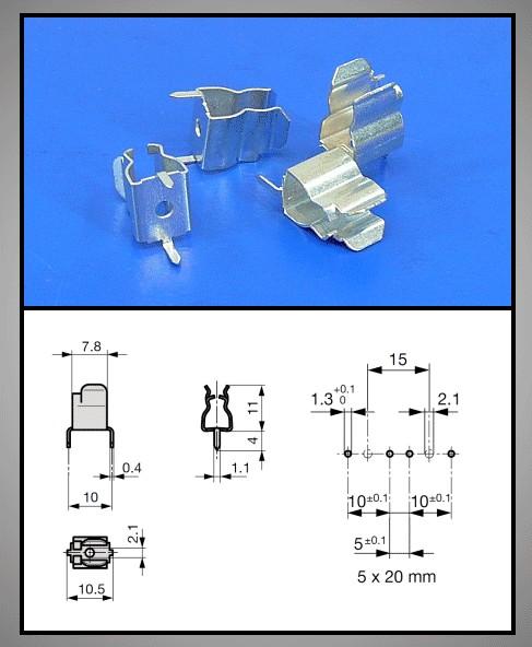 Fém 2p, biztosíték tartó 5x20mm 6,35x32mm ZH2/6.3 B -