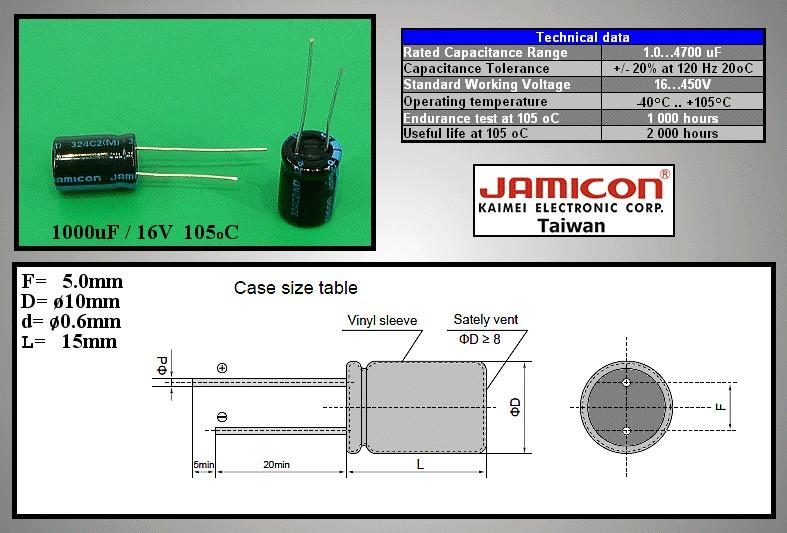 ELKO 1000uF 16V 105°C 10x16 álló TK 1000/16P-105 X -