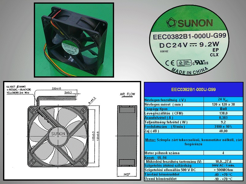 24V ventilátor 120x120x38 EEC0382B1-G99 CY12038/24B1-G99 -