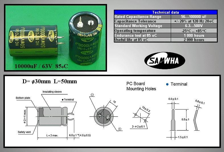 ELKO 10000uF 50V 85°C 30x45 Snap-in 10000/50P S -