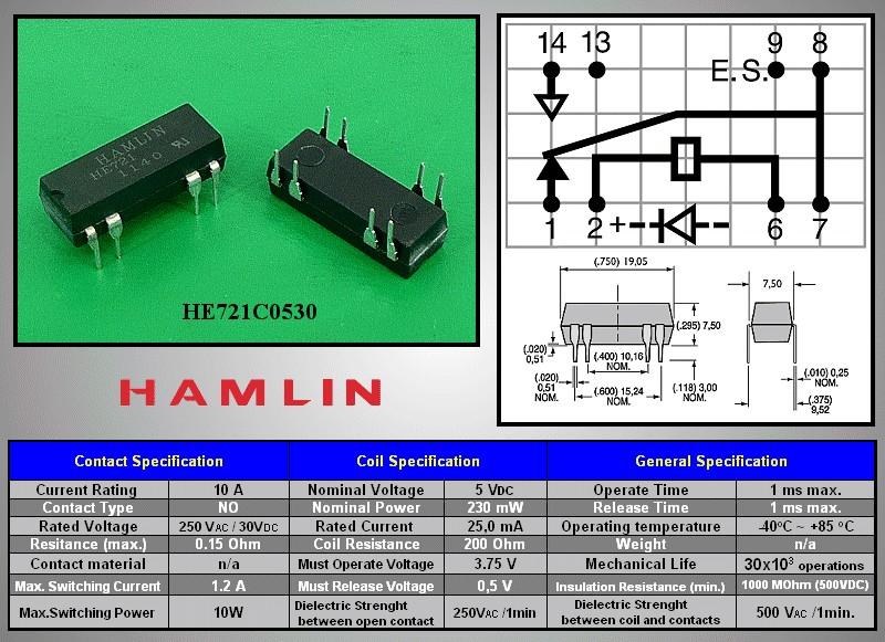 REED 5VDC SPDT-CO 1x250VAC/0,5A DIP relé 8p. RELAY-HE721C0530 -