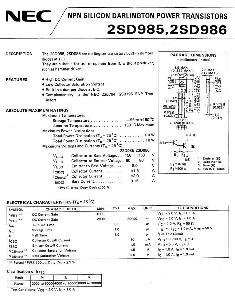 Tranzisztor NPN Darlington+D 150/60V 1.5A 10W 2SD985 2SD985 -
