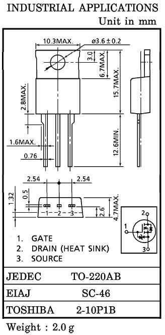 Tranzisztor N-MOSFET 100V 27A/108Ap 75W 0.09R 2SK2314 2SK2314 -