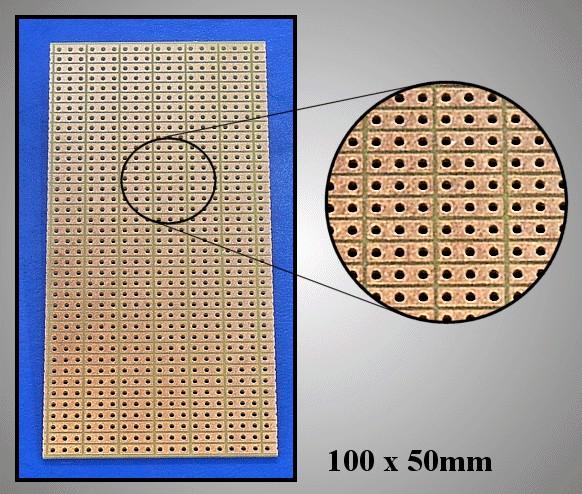 FR4 próbapanel 50x100 3 közöspontonként maratva PP-1905