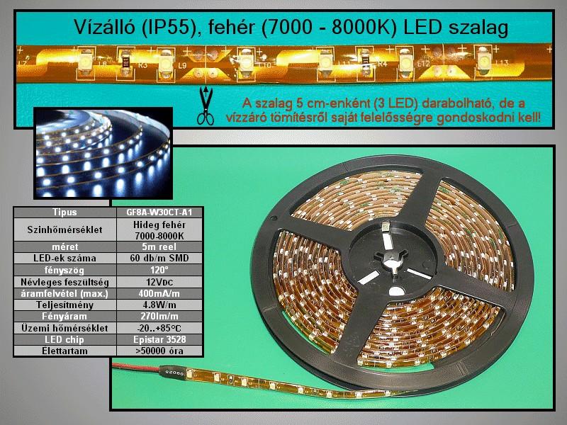 IP65 vízálló 3528 LED szalag, hidegfehér (60LED/m) RIBBON-WC001W-B