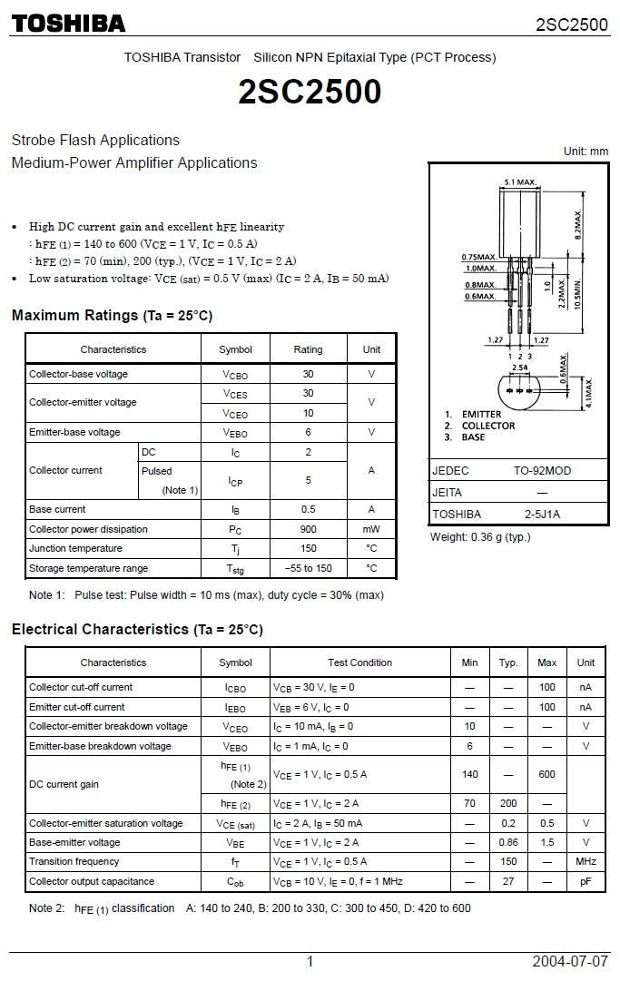 SI-N 30V 2A 0.9W 150MHz TO92M 2SC2500 -