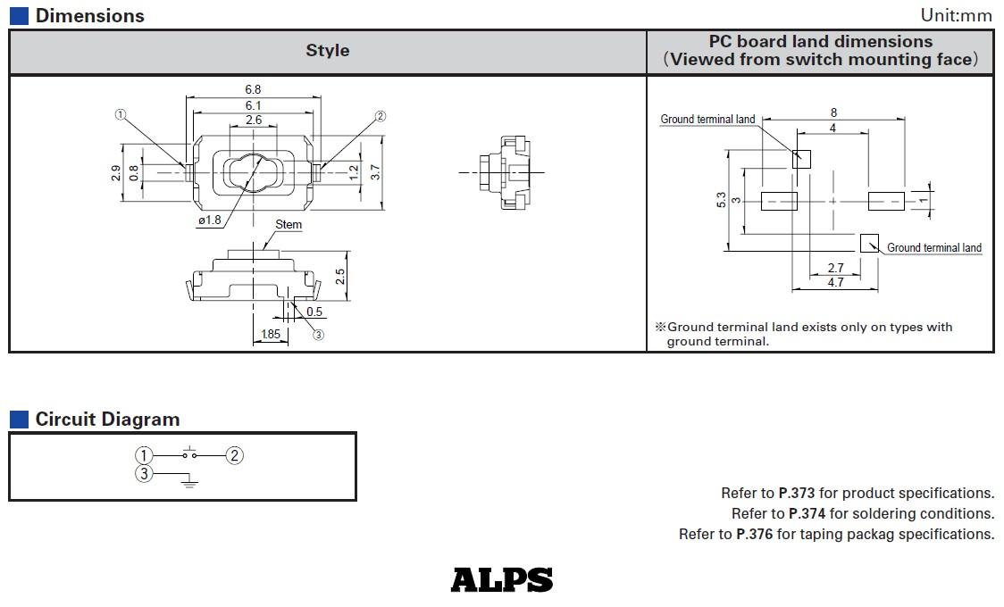 SMD mikrokapcsoló 6.1x3.7x2.5mm 2p gomb:0.4mm SW1000S612-NEW -