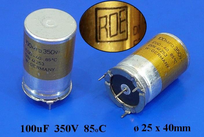 ELKO 100uF 350V 85°C 4p. álló ROE 100/350A3 -