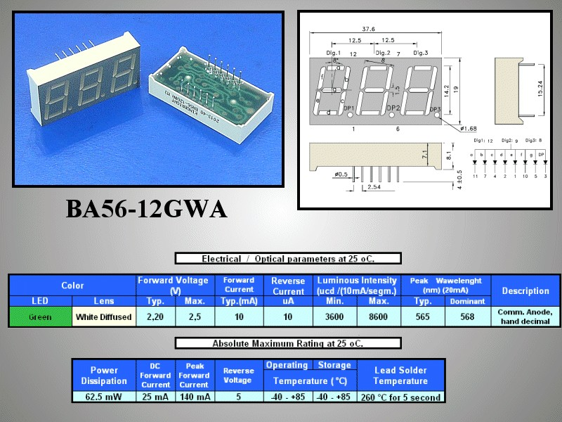 3x7 szegmenses kijelző közös anód, zöld BA56-12GWA -