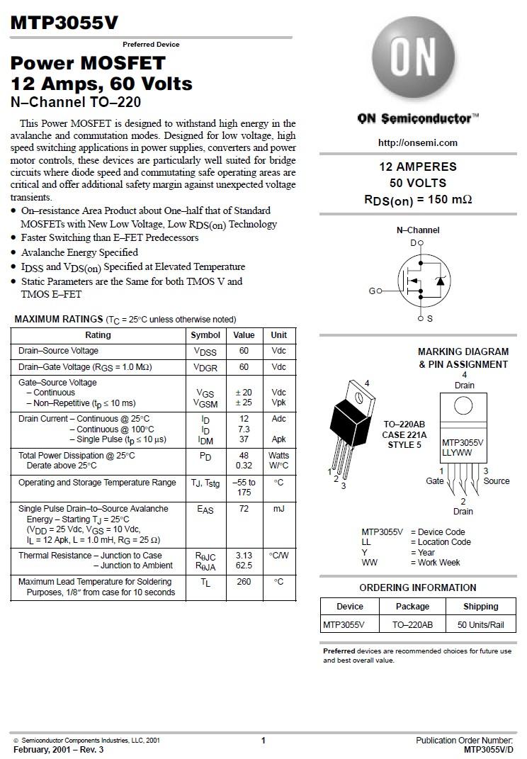 Tranzisztor N-MOSFET 60V 12A/37Ap 48W 0.1R (7.3A) MTP3055V MTP3055V -