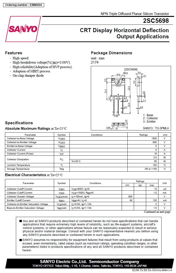 Tranzisztor NPN+DR 1500/800V 8A 65W 0.2uS 2SC5698 2SC5698