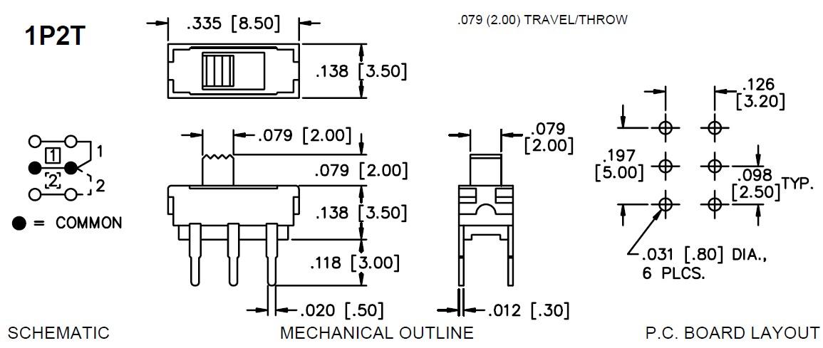 Tóló kapcsoló PCB 2x3p. 8.5x3.5mm (1 áramkörös) SW18201