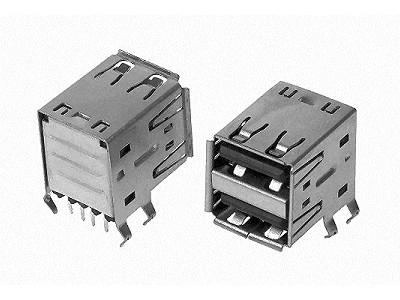 USB-A Dupla aljzat 2x4p. PCB Horizontal CSAT-USB-A/2H