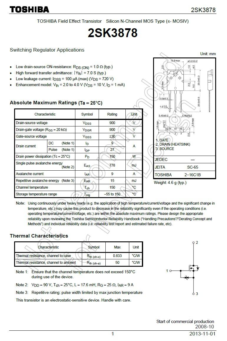 N-MOS+Z 900V 9A/27Ap. 150W 1R (5.3A) 2SK3878 -