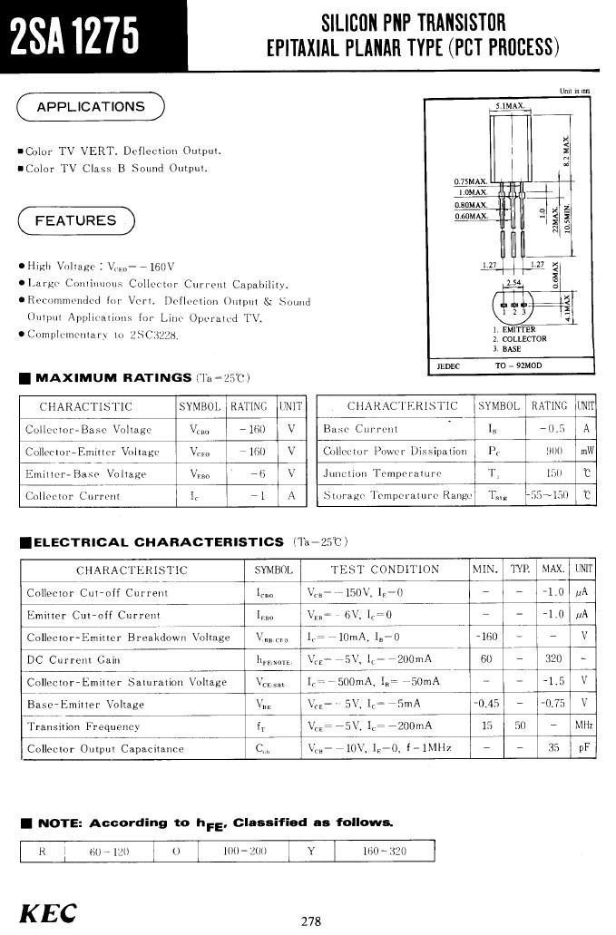 Tranzisztor PNP 160V 1A 0.9W >50MHz hFE: 60-320 NF/VA 2SA1275 2SA1275 -