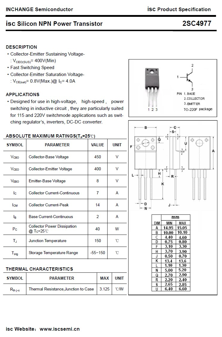 SI-N 450/400V 7A/14Ap 40W 2SC4977 -